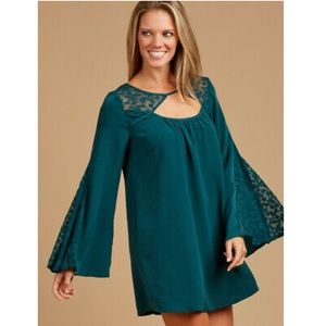 Altar'd State Elkhart Deep Teal Swing Bell Dress L